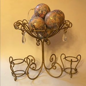 Gold Metal Cage Bowl & Votive Candle Holders